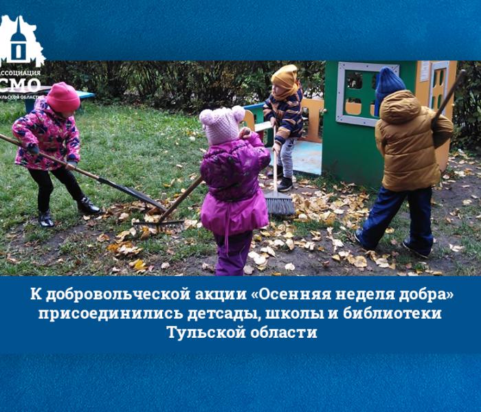 К добровольческой акции «Осенняя неделя добра» присоединились детсады, школы и библиотеки Тульской области